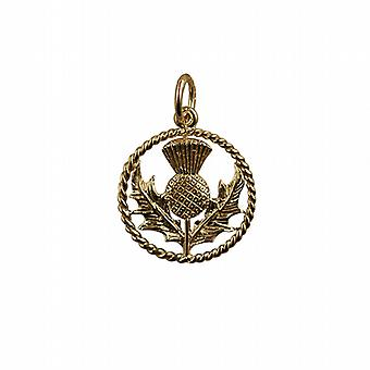 9ct Gold 17mm Scottish Thistle Pendant with a twisted wire surround