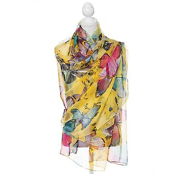 Eternal Collection Mariposa Yellow Multi Coloured Butterfly Viscose Silk Blend Oblong Sarong Scarf