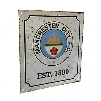 Manchester City Retro Logo Sign