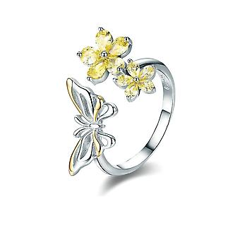 Ring adjustable butterfly and flower adorned with Crystal from Swarovski yellow and Silver 925