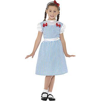 Peasant girl costume blue dress and headband