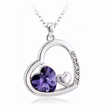 TOC Two Hearts Within A Heart Purple Crystal Pendant 18