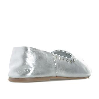 Womens Vero Moda Adeline Leather Shoes In Silver