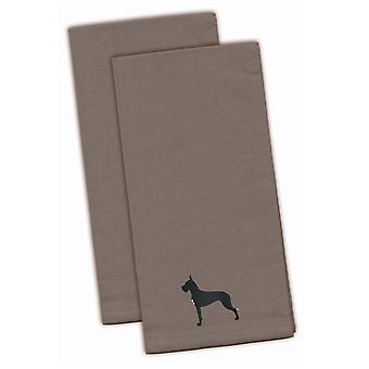 Great Dane Gray Embroidered Kitchen Towel Set of 2