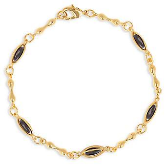Guldpläterad arm band med oliv svart emalj 19cm