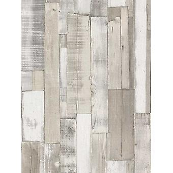 Wood Board Panel Wallpaper White Rasch 203714