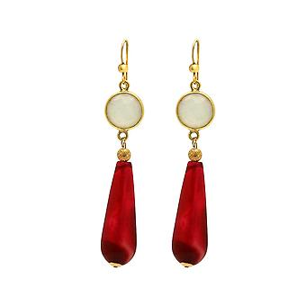 Gemshine earrings white, red agate gemstone drop 925 silver or gold plated