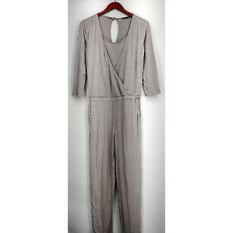 H by Halston Jumpsuits Knit Wrap Front 3/4 Sleeve Gray A272285