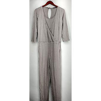 H ved Halston jumpsuits Strik wrap front 3/4 ærme grå A272285