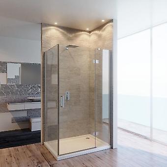 Boîte de douche transparente de coin en cristal de 8mm avec la porte d'oscillation