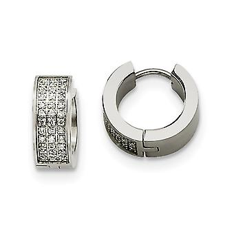 Stainless Steel Brushed Polished Satin with White Cubic Zirconia Stones Hinged Hoop Earrings