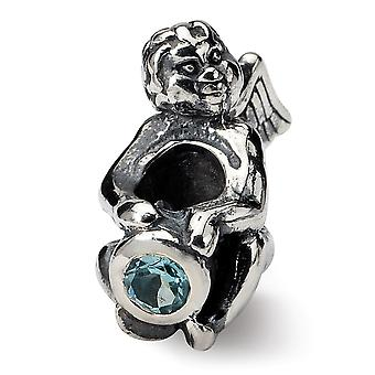 925 Sterling Silver Polished Antique finish Reflections December Cubic Zirconia Antiqued Bead Charm