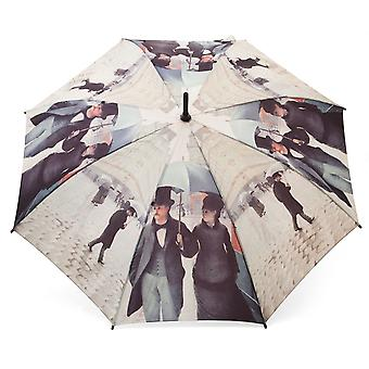 Umbrella stick umbrella motif of Caillebotte Paris in the rain