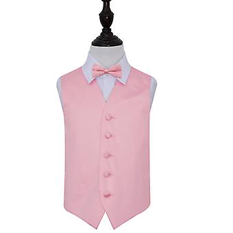 Boy's Baby Pink Plain Satin Wedding Waistcoat & Bow Tie Set