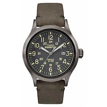Timex Mens Scout Black Dial Grey Leather Strap TW4B01700 Watch
