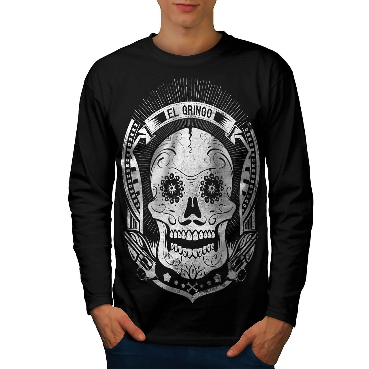 Mexican Skull Death Evil Monster Men Black Long Sleeve T-shirt | Wellcoda