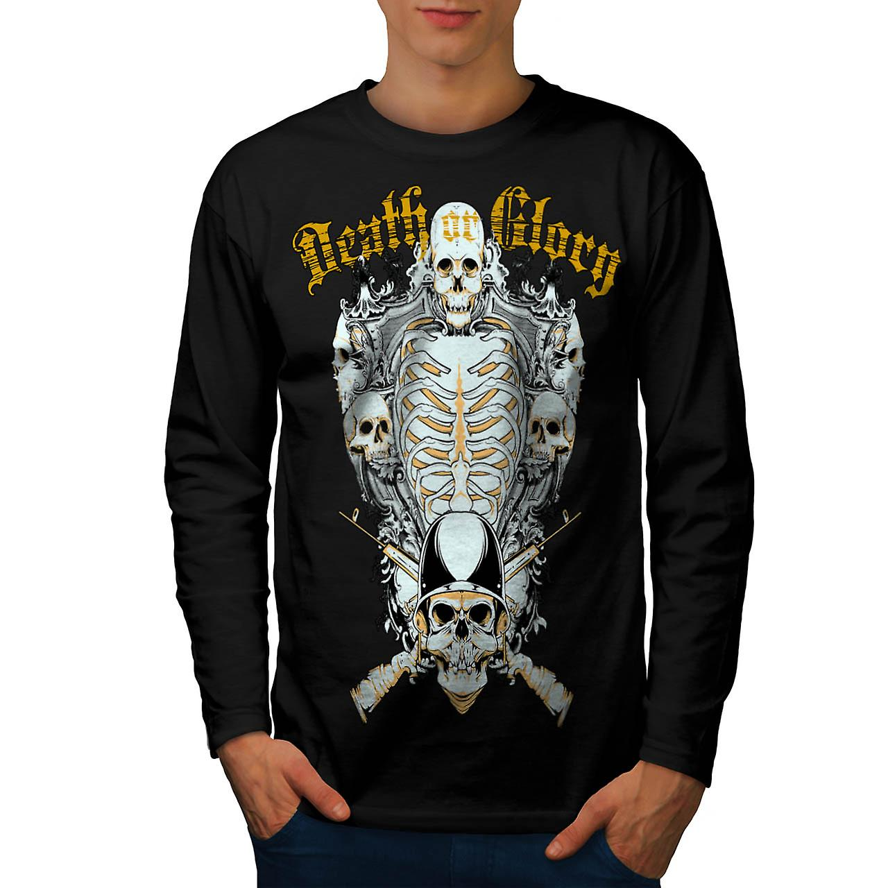Death Glory Guns Skull Men Black Long Sleeve T-shirt | Wellcoda