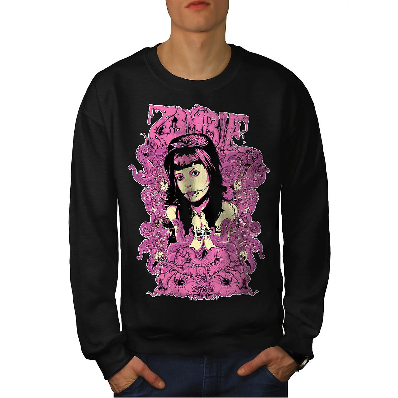 Zombie Royal Queen Dead Lady Lip Men Black Sweatshirt | Wellcoda