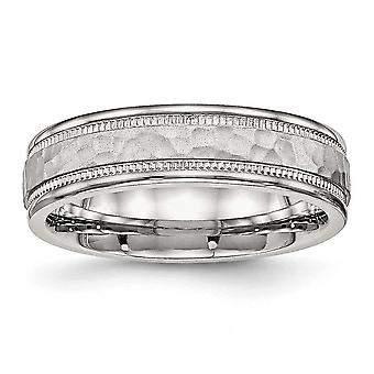 Stainless Steel Polished Hammered and Grooved 6.00mm Band Ring - Ring Size: 6 to 13