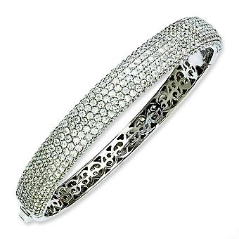 Argento rodiato con CZ incernierato Bangle Bracelet