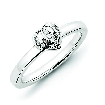 Sterling Silver Stackable Expressions Diamond Heart Ring - Ring Size: 5 to 9