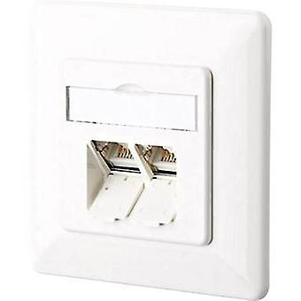 Network outlet Flush mount Insert with main panel and frame CAT 6 2 ports Metz Connect 1307381002-I Pure white
