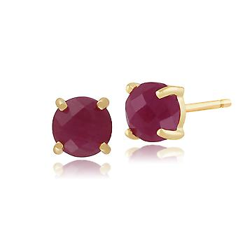 Amour Damier 9ct Yellow Gold 1.50ct Special Cut Ruby Stud Earrings