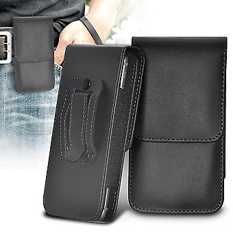 ONX3 (Black) Samsung Galaxy Xcover 4 Case Premium Vertical Faux Leather Belt Holster Pouch Cover