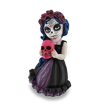Cosplay Kids Mini Day of Dead Girl Holding Skull Statue