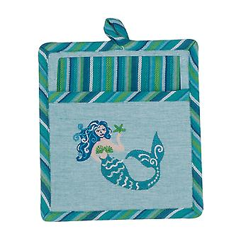 Mermaid Coastal Embroidered 2 Piece Pocket Mitt with Tea Towel Kitchen Gift Set