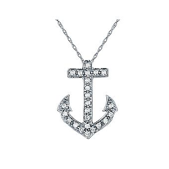 Diamond Anchor Pendant Necklace 1/10 Carat (ctw) in 10K White Gold with Chain