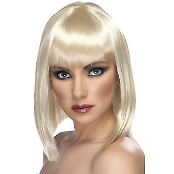 Glam, short, rounded wig, blond with bangs