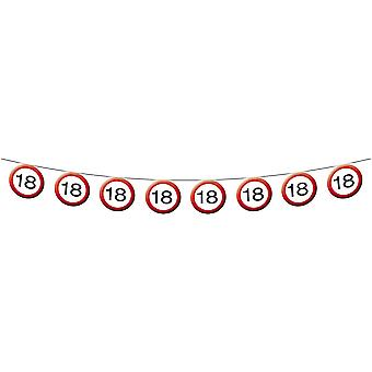 Pennant Garland traffic sign number 18 birthday decoration party