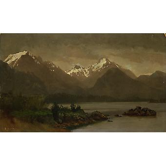 Albert Bierstadt - Untitled mountains and lake Poster Print Giclee