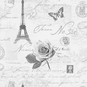 Holden Calligraphy Paris Postcards Travel Eifell Tower Silver Grey Wallpaper