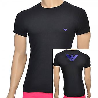 Emporio Armani Eagle Stretch Cotton Crew Neck T-Shirt, Black, X-Large