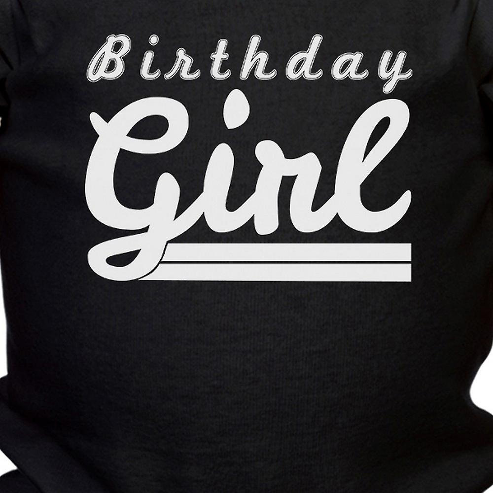 Birthday Girl Gift Baby Bodysuit Cotton Black Easy Snap-On Fasteners