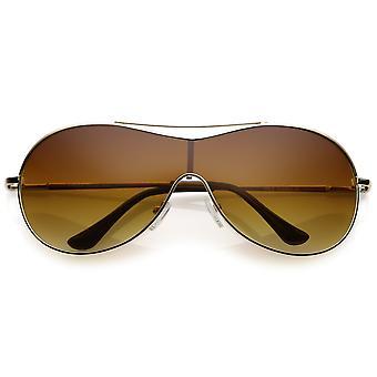 Futuristic Oversize Metal Shield Sunglasses With Crossbar Mono Lens 75mm