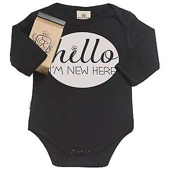 Spoilt Rotten Hello I'm New Here Organic Babygrow In Gift Milk Carton