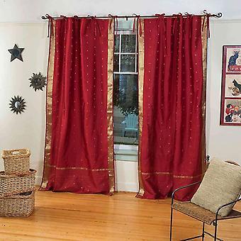Maroon  Tie Top  Sheer Sari Curtain / Drape / Panel  - Piece