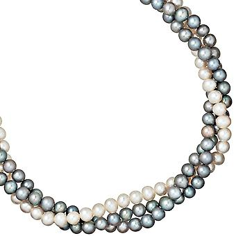 3-row Pearl Necklace freshwater pearl beads diameter 45 cm, approx. 5-6 mm