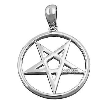Silver rhodium-plated PENTACLE five star cubic zirconia pendant necklace silver