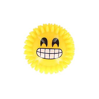 Icon Funny Face Smile With Big Grin Squeaking Ball With Flashing Light Toy 7.5cm