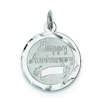 Sterling zilveren solide Faceted Engravable gepolijst terug gelukkig verjaardag Disc charme -.9 gram
