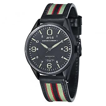 AVI-8 Av-4040-06 Hawker Harrier Ii Black Steel & Black Leather Automatic Watch