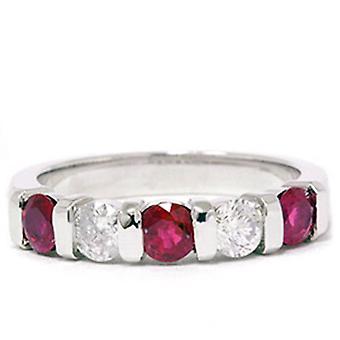 1 / 2ct Ruby & Diamond huwelijksverjaardag 14K Ring