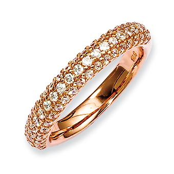 Sterling Silver Pink Plated With Cubic Zirconia Ring - Ring Size: 6 to 8