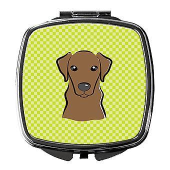 Checkerboard Lime Green Chocolate Labrador Compact Mirror