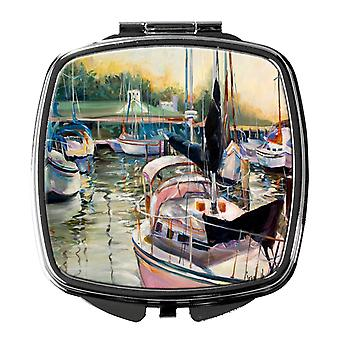 Carolines Treasures  JMK1246SCM Black Sails Sailboats Compact Mirror