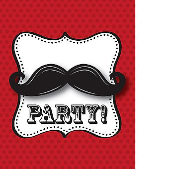 Creative Party Moustache Madness Invitations (Pack Of 8)